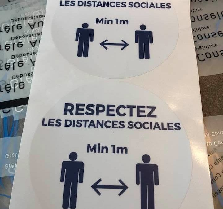 Adhésif distanciation sociale